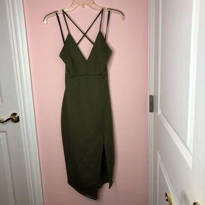 Green Side Slit Dress